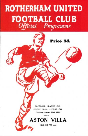 1961 LEAGUE CUP FINAL Rotherham United v Aston Villa - Full replica match programme